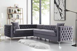 Giovanni Grey Corner Sectional Sofa – 120″ Left Facing | Velvet Tufted | Nailhead |  ...