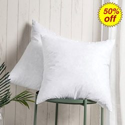 100% Cotton Throw Pillow Inserts – Sham Stuffer Filled with Down and Feather for Firm Slee ...
