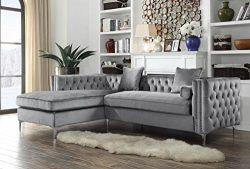 Iconic Home Vinci Tufted Silver Trim Grey Velvet Left Facing Sectional Sofa with Silver Tone Met ...