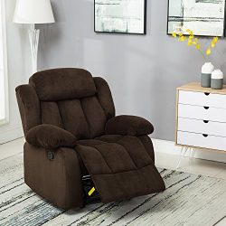 BONZY Recliner Chair Microfiber Cover with Oversized cushion – Brown
