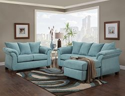 Roundhill Furniture LAF6800SC Norris Sensations Capri Back Sofa with Chaise and Loveseat Set
