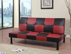 Star Home Furniture Raphael Checkered Futon Convertible Sofa,Black & Red