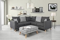 Modern Living Room Linen Fabric Sectional Sofa, L Shape Couch with Ottoman (Grey)