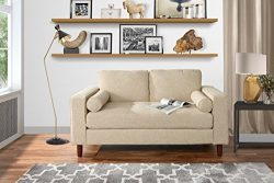 Modern Sofa Loveseat with Tufted Linen Fabric – Living Room Couch (Beige)
