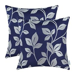 CaliTime Pack of 2 Soft Throw Pillow Covers Cases for Couch Sofa Home Decor, Cute Growing Leaves ...