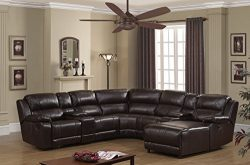 Christies Home Living Reclining Sectional, Dark Brown