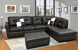 WINPEX 3 Piece Faux Leather Sectional Sofa Set with Free Storage Ottoman + left or right chaise  ...