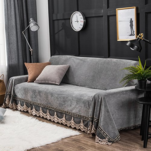 Plush Sofa Slipcover 1 Piece Vintage Lace Suede Couch Cover Anti Slip Furniture Protector For 1