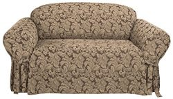 Sure Fit Scroll 1-Piece – Sofa Slipcover  – Brown (SF36217)