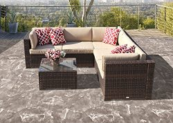 6 Piece Patio Furniture Outdoor Furniture Sectional Set, All Weather PE Brown Wicker Patio Set S ...