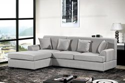 Oliver Smith – Large Light Grey Linen Cloth Modern Contemporary Upholstered Quality Sectio ...