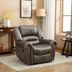 BONZY Oversized Recliner Chair Leather Cover Living Room Lounge Chair – Smoke Gray