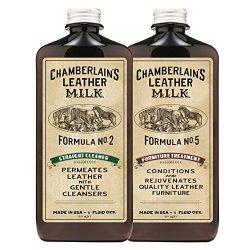 Leather Milk Leather Furniture Cleaner & Conditioner Kit (2 Bottle Furniture Care Set) &#821 ...