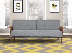 Armen Living LCMOSOGRAY Monroe Convertible Futon in Grey Fabric and Walnut Wood Finish