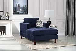 Mid Century Modern Velvet Fabric Living Room Chaise Lounge (Navy)