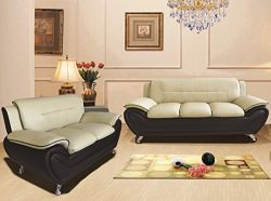 Container Furniture Direct S5398-S+L Michael Sofa and Loveseat, Camel/Black
