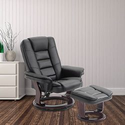Cloud Mountain PU Leather Recliner Chair and Ottoman Swivel Lounge Leisure Living Room Furniture ...