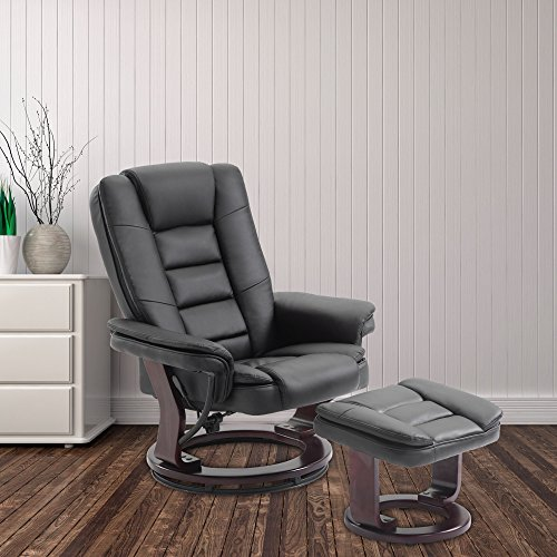 Cloud Mountain Pu Leather Recliner Chair And Ottoman Swivel Lounge Leisure Living Room Furniture