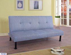 Beverly Furniture F2109 Futon Convertible Sofa, blue-grey