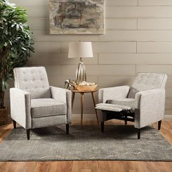 Marston Mid Century Modern Fabric Recliner (Set of 2) (Light Grey Tweed)