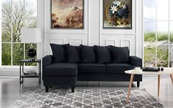 Modern Linen Fabric Sectional Sofa – Small Space Configurable Couch (Black)