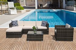 PATIOROMA Outdoor Furniture Sectional Sofa Set (6-Piece Set) All-Weather Grey Wicker with Cream  ...
