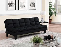DHP Allegra Pillow-Top Cushion Futon Couch with Upholstered Microfiber – Black