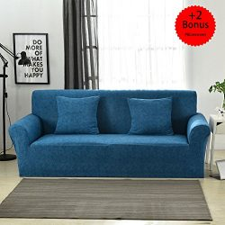 Sobibo Spandex Fabric Stretch Couch Cover Loveseat Slipcover for 2 Cushion with 2 Pillow Covers  ...