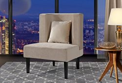 Accent Chair for Living Room, Upholstered Armless Velvet Chairs with Back Cushion and Natural Wo ...