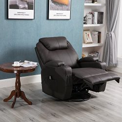Massage Recliner Chair, 360 Degree Swivel and Heated Recliner Leather Sofa Chair with 8 Vibratio ...
