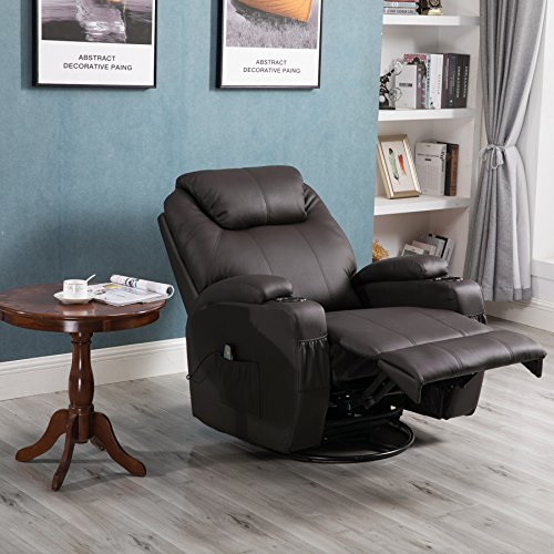 Massage Recliner Chair, 360 Degree Swivel And Heated Recliner Leather Sofa  Chair With 8 Vibratio