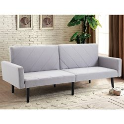 Giantex Futon Sofa Bed Convertible Recliner Couch 5 Reclining Positions Modern Split-back Sofa S ...