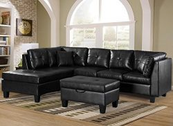 Merax. Sofa 3-piece Sectional Sofa with Chaise Lounge/Storage Ottoman/7 Back Cushions/2 Throw Pi ...