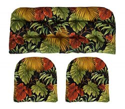 RSH Décor Indoor/Outdoor Wicker cushions Two U-Shape and Loveseat 3 Piece Set Midnight Floral Leaves