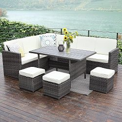 Wisteria Lane Patio Sectional Furniture Set,10PCS Outdoor Conversation Sofa All-Weather Wicker D ...
