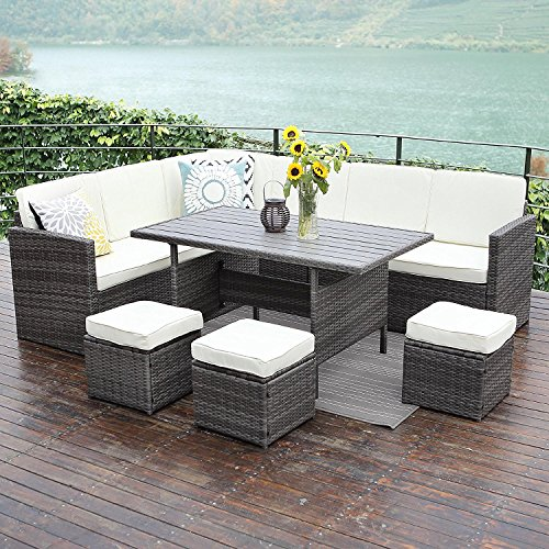 Budget Patio Dining Set: Wisteria Lane Patio Sectional Furniture Set,10PCS Outdoor