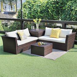Wisteria Lane 4 PCS Patio Sectional Furniture Set, Outdoor Conversation Sofa Set All-Weather Wic ...