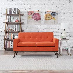 Sophia Mid Century Modern Fabric Loveseat, Orange