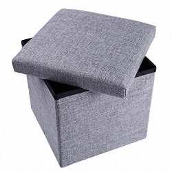 epeanhome Ottoman with Storage,Storage Ottoman Polyester Folding Stool,Collapsible Ottoman Cube, ...