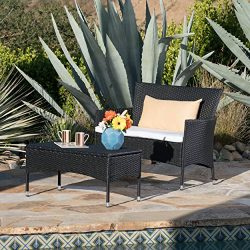 Great Deal Furniture Malta Outdoor Black Wicker Loveseat and Coffee Table Set with White Water R ...