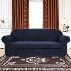 Subrtex Spandex Stretch 2-Piece Slipcover (Loveseat, Navy)