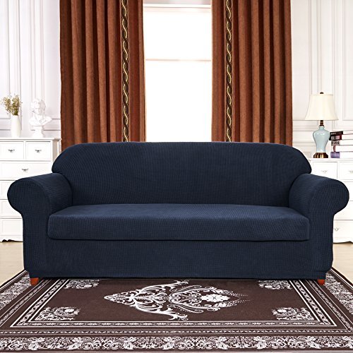 Subrtex Spandex Stretch 2 Piece Slipcover Loveseat Navy
