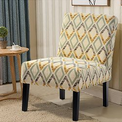 Harper&Bright Designs Fabric Accent Chair Living Room Armless Chair with Solid Wood Legs (Be ...