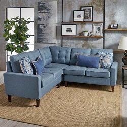 Niya Mid Century Modern Blue 3 Piece Sectional Sofa