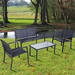 TANGKULA 4PCS Patio Conversation Set for Outdoor Indoor Use with Glass Top Coffee Table, Lovesea ...