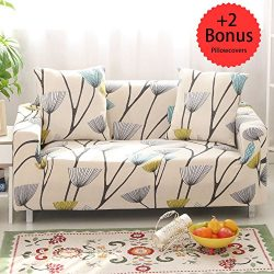 Sobibo Spandex Fabric Stretch Couch Cover Slipcover for 3 Cushion with 2 Pillow Covers 70″ ...