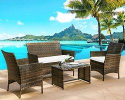 Leisure Zone 4 PC Rattan Patio Furniture Set Wicker Conversation Set Garden Lawn Outdoor Sofa Se ...