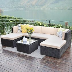 Wisteria Lane Outdoor patio furniture sets, 7 PCS Wicker Sofa Set Garden Rattan Sofa Cushioned S ...