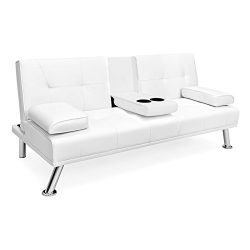White Faux Leather Entertainment Convertible Futon Sofa Bed Cup Holder Couch Recliner Sleeper Ho ...