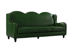 Leather Sofa 3 Seater, Living Room Couch, Loveseat for 3 with Nailhead Trim (Green)